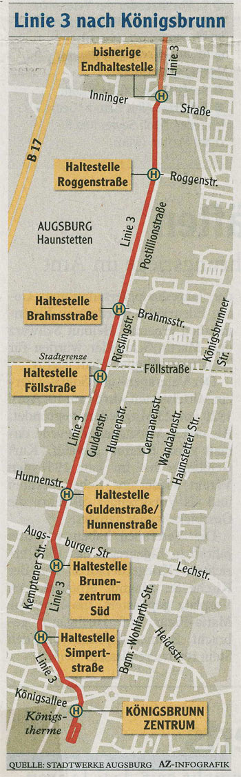 Lageplan der Linie 3