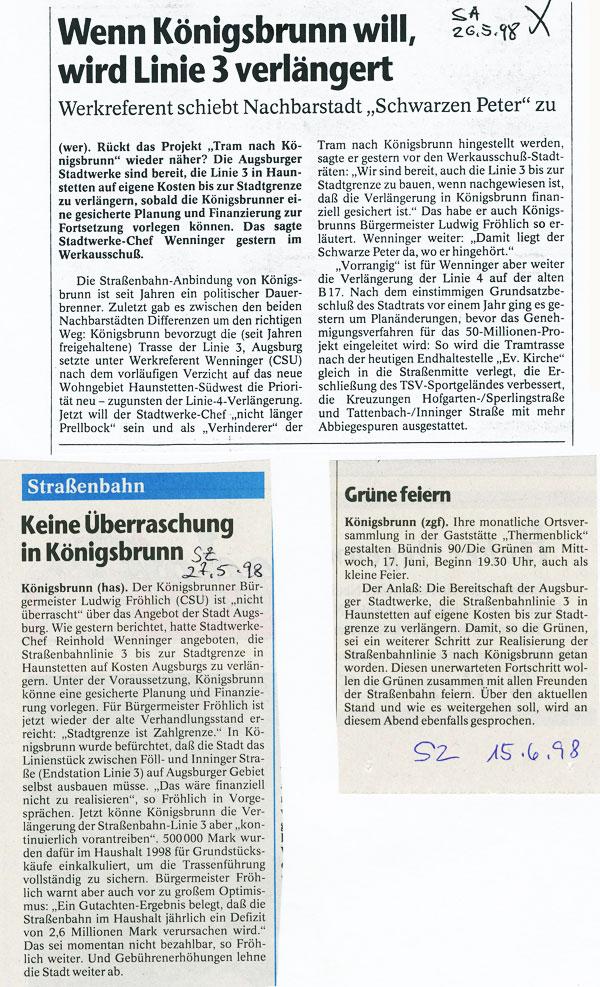 SA und SZ, Mai und Juni 1998
